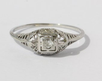 Antique Art Nouveau 18k White Gold & Old European Cut Diamond Engagement Ring Size 7.5