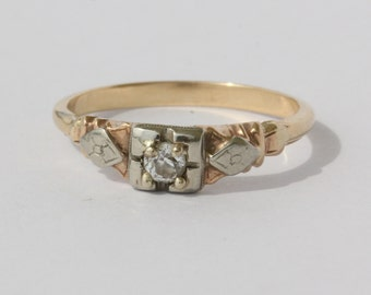 Antique Old European Cut Diamond 14K Gold Low Profile Engagement Ring Size 6.5
