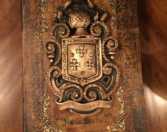 Decorative Embellished Tabletop Book with Knight Shield and Bling - Free Shipping
