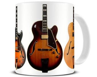 Jazz Guitar Collection Coffee Mug - jazz gifts - gift for dad - father's day gift - guitar mug - MG391