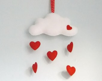 Heart and Cloud Mobile, Love Heart Mobile, Felt Cloud Mobile.