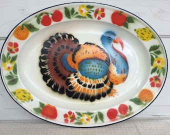 SALE Vintage collectable retro painted enamelware turkey platter thanksgiving holiday