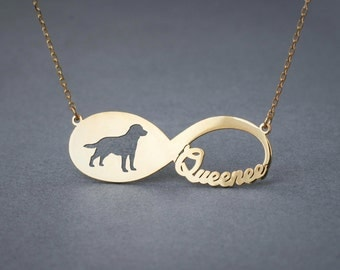 14k Solid Gold Personalised INFINITY LABRADOR RETRIEVER Necklace - 14k Gold Labrador Necklace - Name Necklace