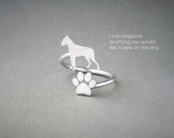 Adjustable Spiral BOXER and PAW Ring / Boxer Ring / Paw Ring /Dog Ring / Silver, Gold Plated or Rose Plated.