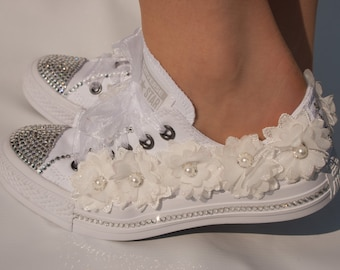 39a6a5fab35dfe Wedding converse trainers with crystals lace pearls jpg 340x270 Converse  wedding shoes with lace