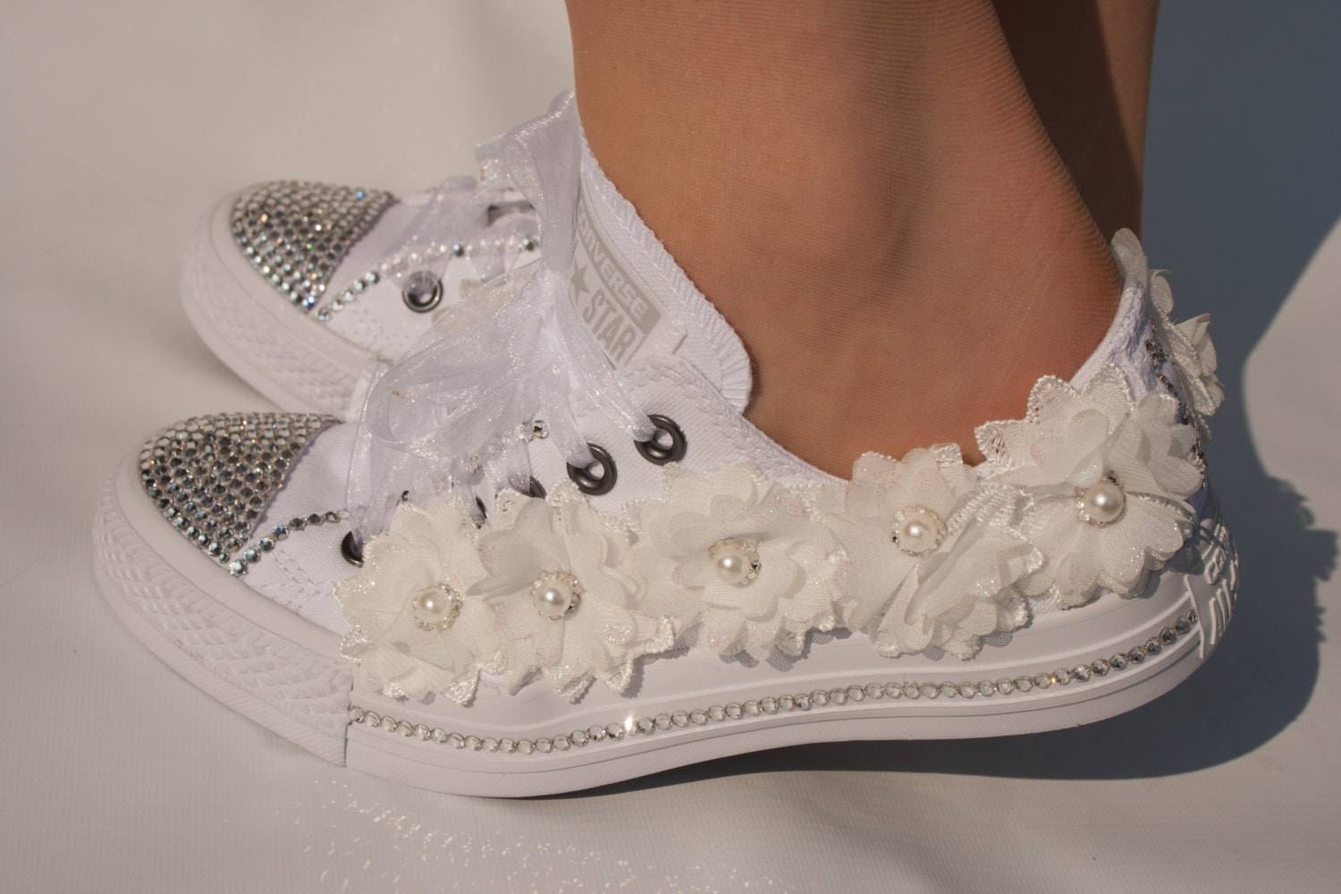 Wedding Converse Trainers With Crystals Lace & Pearls