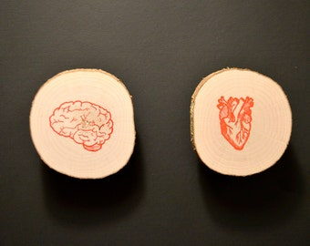 Head Verses Heart - Anatomical Art - Wood Slice