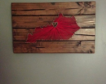 Louisville Kentucky Wood Nail and String Art-Large