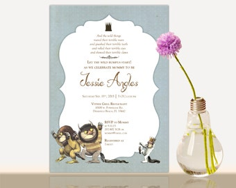 Where the wild things are invitation, Where the wild things are baby shower invitation, Where the wild things are baby shower party
