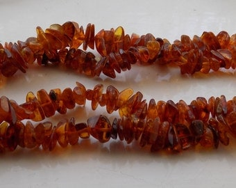 Vintage 1980's Russian Baltic Amber Natural Small Pieces Necklace 46.4 grams