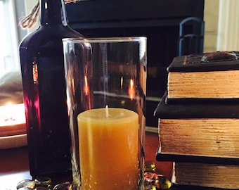 100% Pure Beeswax Candle-Beeswax Pillar Candle-Simple Hurricane Glass-Pure Natural Beeswax Candle