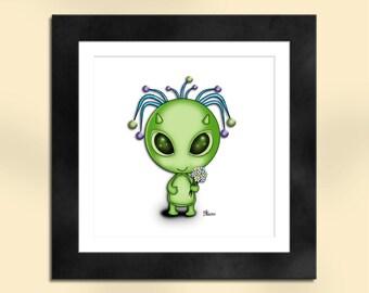 Green Alien with Flowers Art Print
