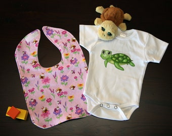 Baby Onesie and Bib Gift Set (1 Onesie, 1 Bib)
