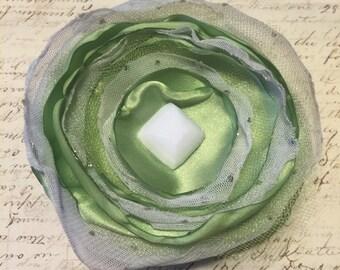 Light Green & White Flower Hair Clip