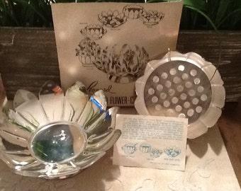 Vintage Leonard Silverplate Lotus Flower Frog Centerpiece  # 855 - 1950's