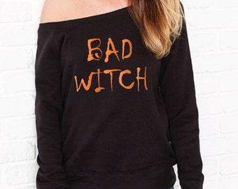 Bad Witch Halloween Sweater. Halloween Costume. Halloween Sweatshirt. Halloween Jumper. Halloween Outfit. Witch Sweater. Off The Shoulder.