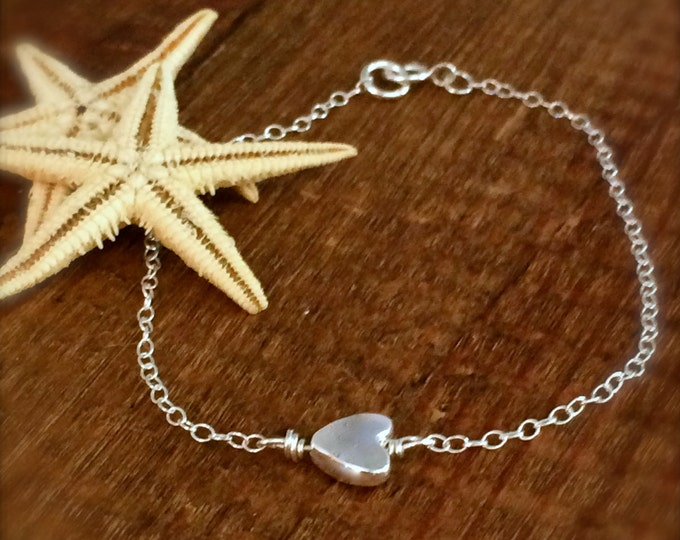 Mermaids at Heart Sterling Silver Bracelet Silver Heart Chain Minimalist Bridal Gift for Her Bridesmaid Delicate Anklet Layer Valentine Gift