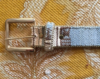 Southwestern Style Leather and Weaved Fabric Belt