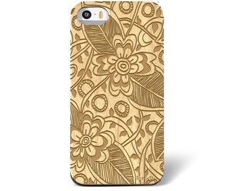 Laser Engraved Floral Hand Drawn Leafy Plumeria Zentangle Inspired on Genuine Wood phone Case for iPhone 5s, 6 and 6 plus IP-047