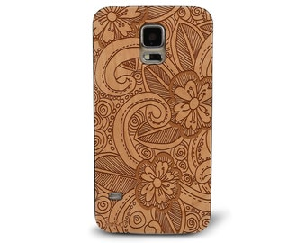 Laser Engraved Hand Drawn Leafy Floral Plumeria Doodle Inspired Pattern on Genuine Wood Cell phone Case for Galaxy S5, S6 and S6Edge S-012