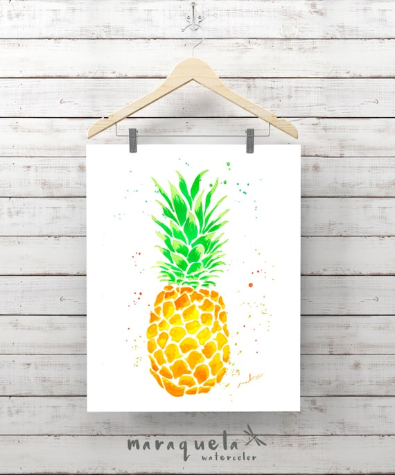 PINEAPPLE Watercolor Painting, green and yellow Color Art Print, Colour Pineapple, Watercolor Pineapple,Ananas Prints, ideas Kitchen Art