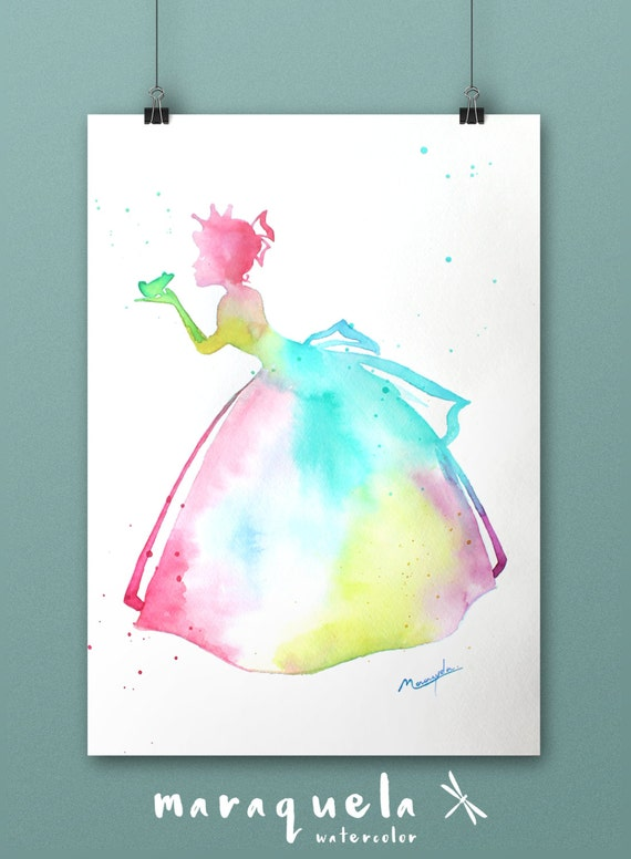 Original Tiana Disney princess watercolor hand-made. Animated movie, birthday gift, princess poster, nursery decor. Tiana princess, bedroom