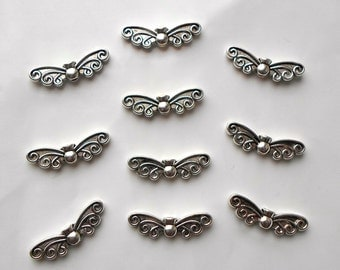 20 / 50 x Antique Tibetan Silver Fairy Angel Butterfly Wings Charms Beads 22mm x 6mm CH7