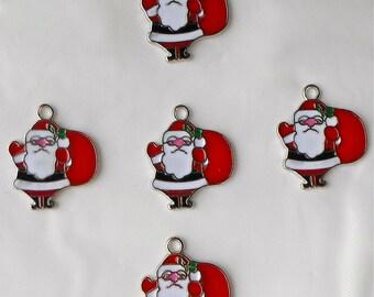 5 x Father Christmas Santa Claus Enamel Xmas Charm Beads 28x23mm