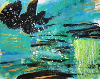 """Small Turquoise Abstract Painting contemporary wall art, modern apartment decor original fine art painting """"Underwater Games"""" 9x12"""" on paper"""