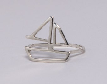 Sterling Silver Sailboat Ring - Nautical Marine Sailing Boat Jewelry