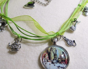 "Alice in Wonderland ""Mad Hatter"" Tea Party Necklace in Silk and Hemp"