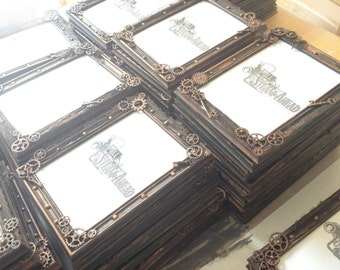 "Set of 10 5""x7"" Steampunk Wedding Favors, Picture Frames, Steampunk Wedding Gifts, Steampunk photo frame, Table Markers, Place Setting"