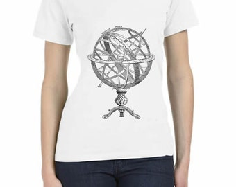 Hand Printed T- Shirt Ancient Armillary Sphere Relaxed Short Sleeve V-Neck