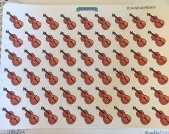 Sheet of 54 violin planner stickers sheet, stickers for planners, journals, scrapbooks and more!