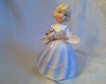 Vintage Schmid Bros Music Box Girl Holding Flowers 1963