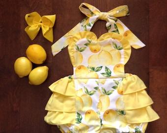 Lemon Print Ruffle Romper