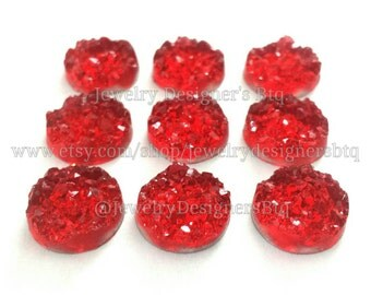 12mm Faux Druzy Resin Drusy Cabochons Red Crystal Kawaii Cabochon Ruby Red Jewelry Findings Crafting Supplies DIY Earring Necklace Bracelet