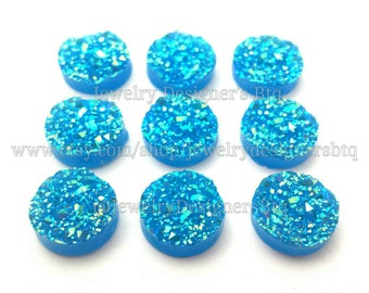 12mm Druzy Cabochons Faux Druzy Sparkling Blue Cabochon Resin Embellishment Jewelry Supplies Earring Findings Cameo Settings Kawaii Supply
