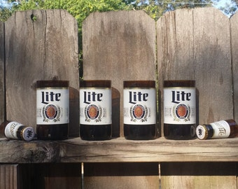Set of 4 upcycled Miller Lite glasses and 2 shot glasses