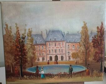 Michel Pabois: 'Place des Vosges' Oil on Canvas