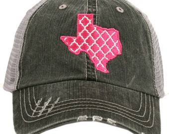 Texas Trucker Hat - Distressed Hat - Pink Texas - Teal Texas
