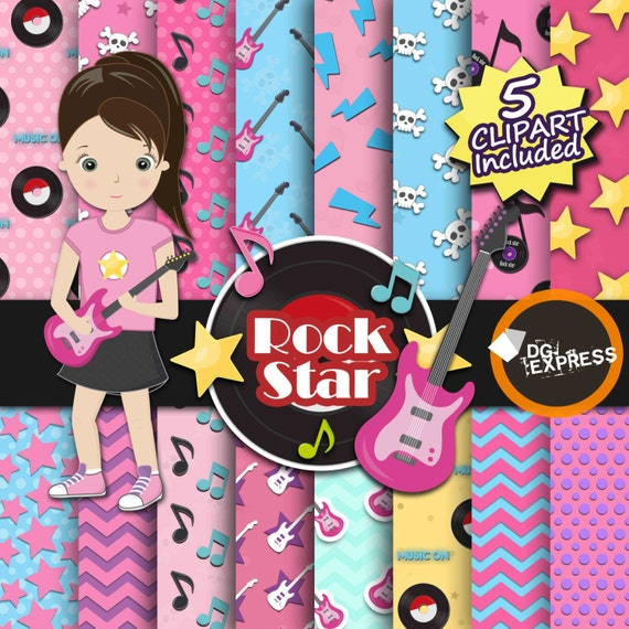 Sale music digital paper clipart girl rock star for Rock star photos for sale