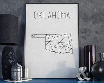 Oklahoma state Oklahoma wall art Oklahoma map minimalist art modern minimal Oklahoma print Geometric print, Scandinavian Geometric map