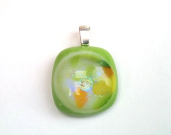Dichroic Fused Glass Pendant  - Frames Collection - Lime green, white, yellow, orange (C31)