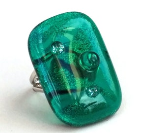 Dichroic Fused Glass Adjustable Ring  - Chroma Collection - Green teal (YR70)