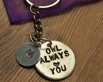 Owl Always Love You Hand Stamped Keyring