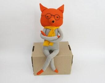 OOAK Linen Red Fox in glasses / Linen stuffed toy / OOAK Fox / Children's room decor