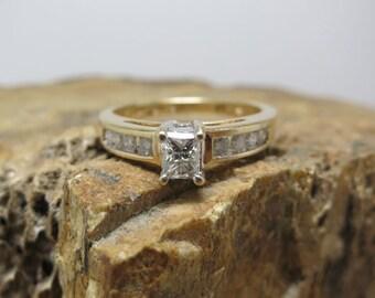 princess cut vs I color diamond engagement ring 14k yellow gold