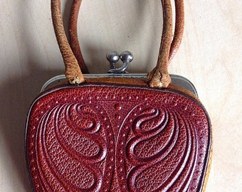 Vintage Tooled Leather Doll Purse