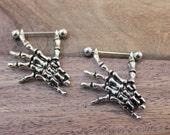 Pair of Skeleton Hands Nipple Shields - Skeleton Nipple Shields -  Nipple Ring Barbell, 14G Nipple Piercing Jewelry